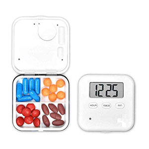 Samtlan Electronic Pill Box Timer Alarm Pill Box Easy to Carry with 4 Compartments - Best Pill Boxes with Alarm: Convenient for Outdoor Activities