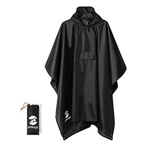 SaphiRose Hooded Rain Poncho - Best Raincoats for Men: 3 in 1 raincoat