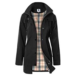 SaphiRose Women's Long Hooded Rain Jacket - Best Raincoats for Iceland: Gorgeous Anorak style