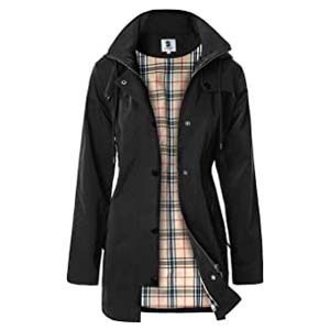 SaphiRose Women's Long Hooded Rain Jacket - Best Raincoats with a Suit: Gorgeous Anorak style