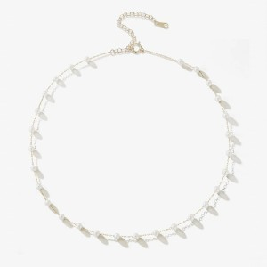 Mizuki Floating Pearl Chain Necklace SBN149 - Best Jewelry for Strapless Wedding Dress: For a fresh modern look
