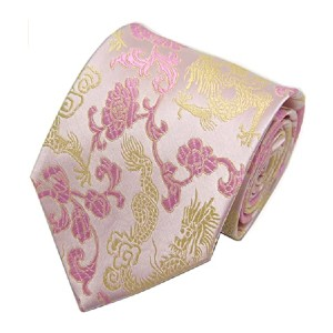 Secdtie Men's Silk Tie Dragon Peony Embroidery - Best Ties for Interviews: No more stains and wrinkles
