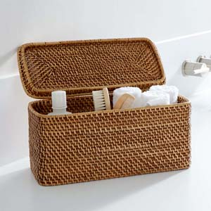Crate and Barrel Sedona Honey Lidded Rectangular Tote - Best Bathroom Organizer: Great display