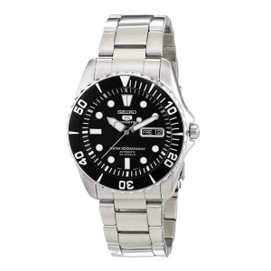 Seiko 5 Automatic Black Dial Stainless Steel SNZF17  - Best Watch Gift for Boyfriend: Best for style