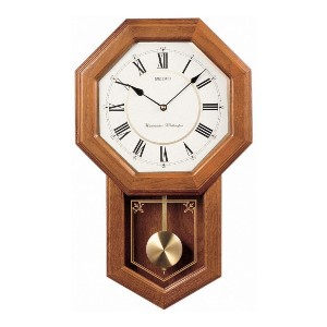 Seiko  Light Oak Traditional Schoolhouse Wall Clock  - Best Wall Clock for Living Room: With Metal Pendulum