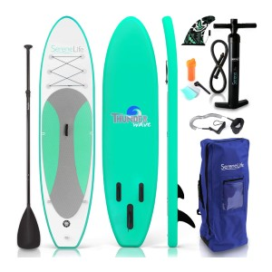 SereneLife Inflatable Stand Up Paddle Board - Best Inflatable Paddle Board Under $400: Wide Paddle Board for Extra Stability