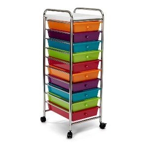 Seville Classics 10-Drawer Rolling Utility Storage Organizer - Best Storage Container for Legos: Easy to transport