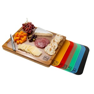 Seville Classics Bamboo Cutting Board  - Best Cutting Boards for Vegetables: Comes with color-coded mats