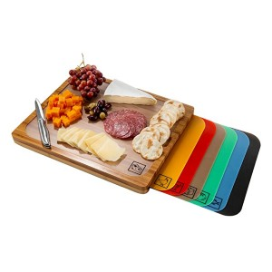 Seville Classics Easy-to-Clean Bamboo Cutting Board - Best Cutting Boards for BBQ: Comes with color-coded mats
