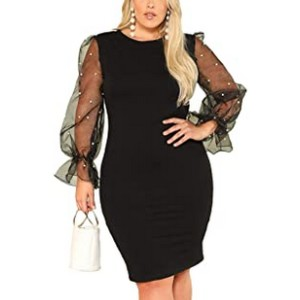 Shein Women's Plus Size Bodycon Dress - Best Party Dress for Plus Size: Charming without overdoing