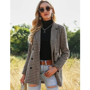 Shein Wool-mix Plaid Double Breasted Blazer - Best Blazers for Petites: Multicolor Plaid Pattern