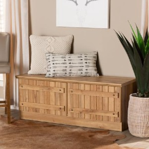 Shopango Oswald Modern 2-Door Wood Storage Bench - Best Entryway Benches: Simple Bench with Storage