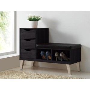 Shopango Arielle Contemporary 3-Drawer 2-Shelves Leather Seating Bench - Best Storage Benches: Padded Leather Seating Bench