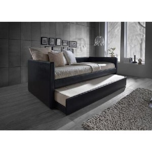 Shopango Reeve Contemporary Leather Daybed - Best Daybeds with Trundles: Casual Black Faux Leather Daybed