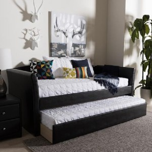 Shopango Camino Contemporary Leather Daybed - Best Daybeds with Trundles: Modern Daybed with High-Density Foam Filling