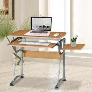 Shopango Cherry Computer Desk - Best Home Office Computer Desk: Easy Pull Out Keyboard Tray