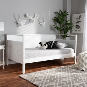 Shopango Cintia Traditional Wood Daybed - Best Daybeds for Small Spaces: White Finish Daybed