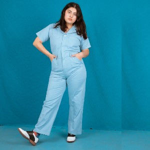 Big Bud Short Sleeve Jumpsuit - Baby Blue - Best Jumpsuit for Plus Size: Made to last