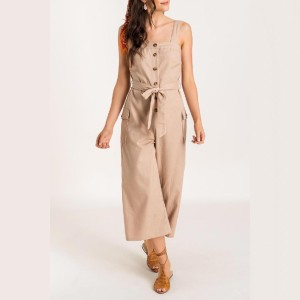 Trendy Rompers  Side Hustle Taupe Linen Utility Jumpsuit  - Best Jumpsuits for Petites: Matching sash tie