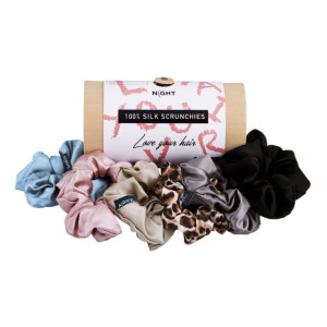 Night Silk Scrunchies - Best Scrunchies for Thick Hair: Keeps Hairstyle in Place