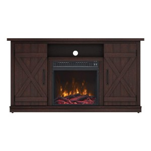 Simple Living Products Industrial TV Stand with Fireplace  - Best Electric Fireplace TV Stand: An instant eye-catcher