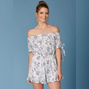 Trendy Rompers Sintra White Floral Print Off-the-Shoulder Romper  - Best Off The Shoulder Tops: Hassle-free outfit