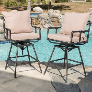Sittig Patio Bar Stool with Cushions - Best Outdoor Bar Stool: Outdoor Cushion Bar Stool with Adjustable and Swivel Functions