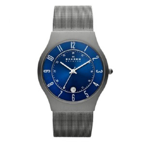 Skagen Casual Quartz Watch - Best Waterproof Watches: Blue Dial with Silver-Tone Hands and Arabic Numerals