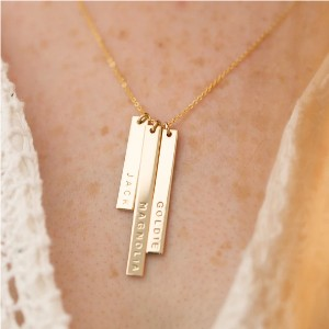 Made by Mary Skinny Vertical Bar Necklace - Triple - Best Personalized Jewelry for Moms: Engrave three names!