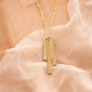 Made by Mary Skinny Vertical Bar Necklace - Triple - Best Jewelry for New Mom: Engrave three names!