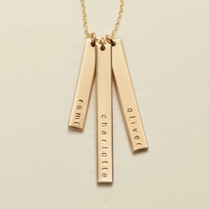 Made by Mary Skinny Vertical Bar Necklace - Triple - Best Jewelry for Sensitive Skin: Engrave three names!