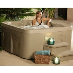Smart for Life Store 4 Person Hot Tub with 20 Stainless Steel Jet Plug & Play Spa Waterfall - Best Four-Person Hot Tubs: Hot Tub with LCD Control Panel
