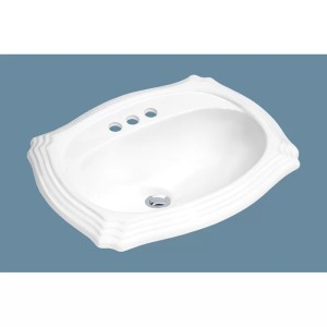 Soleil White Drop-In Bathroom Sink with Overflow - Best Drop-In Bathroom Sinks: Unique Detail Sink