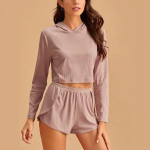 Lulacola Solid Rib Knit Hooded Top & Shorts Lounge Set - Best Loungewear for Petites: Effortlessly chic