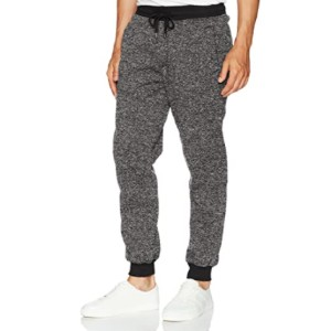 Southpole Basic Fleece Marled Jogger Pant - Best Sweatpants for Tall Men: Single Logo Patch at Back Pocket