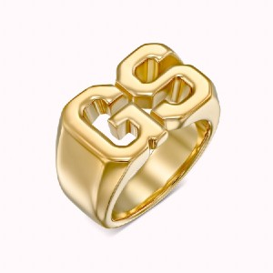 Sparklane Initials Ring (College) - Best Rings for Fat Fingers: Bold Initial Ring