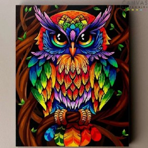 Canvas by Numbers Spirit Owl - Best Paint by Number Kits for Seniors: Vibrant Owl