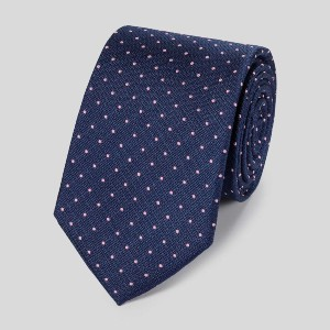 Charles Tyrwhitt Stain Resistant Silk Textured Spot Tie - Best Ties for Navy Suit: Stain-resistant!