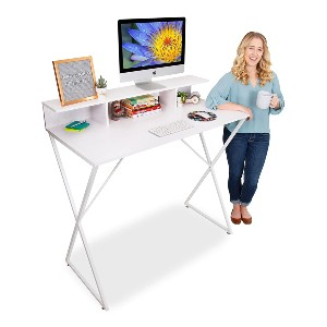 Stand Steady Modern Standing Workstation with Storage Cubbies - Best Standing Desk with Storage: Modern Multi-Purpose Table