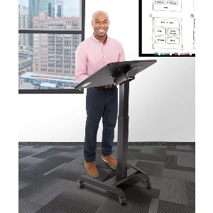 Stand Steady Multifunctional Tilting Mobile Podium - Best Standing Desk for Small Spaces: Ledge Stopper Feature