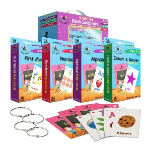 Star Right Flash Cards Set of 4 - Best Flashcards for Preschoolers: Large, clear font