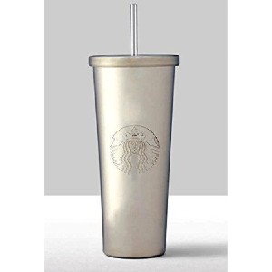 Starbucks Siren Silver Stainless Steel Cold Cup Tumbler with Straw - Best Tumbler with Straw: Keep cold tumbler