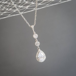 Glamorous Bijoux Crystal Teardrop Dangle Bridal Necklace - Best Necklace for V Neck Dress: For an Old Hollywood aesthetic