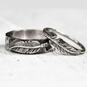 lovestrucksoul Sterling Silver Feather Ring Set - Best Couple Rings for Engagement: Beautifully crafted
