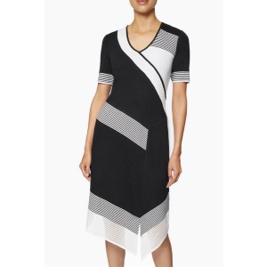 Ming Wang Stripe Accent Asymmetrical Knit Dress - Best Knit Dresses: Makes you look professional