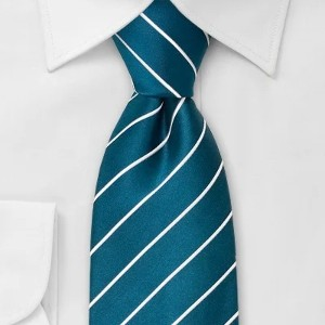 Bows-N-Ties Striped Necktie in Sapphire Blue and White - Best Ties for Striped Shirts: Stay neat and spotless
