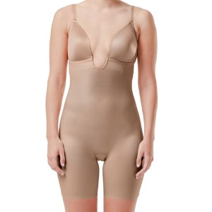 Spanx Suit Your Fancy Plunge Low-Back Mid-Thigh Bodysuit - Best Shapewear for Lower Belly Pooch: Mid-Thigh Length Smoothes Legs