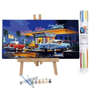 Winnie's Picks Summer Nites - Best Paint by Number Kits for Beginners: 50's vibes large artwork