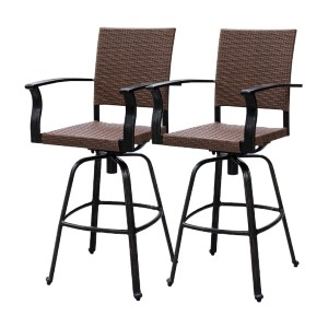 Sundale Swivel Bar Stool All Weather - Best Bar Stools with Backs: Woven Wicker Bar Stool with Swivel Feature