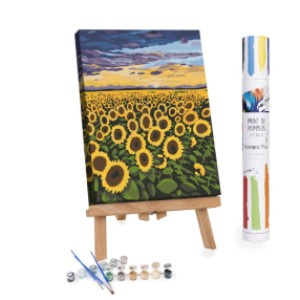 Winnie's Picks Sunset Sunburst - Best Paint by Number Kits for Seniors: A Blooming Field of Sunflowers